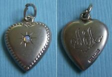 """Vintage opal stone """"AA"""" puffy heart sterling charm"""