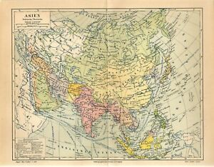 1886 ASIA POLITICAL MAP CHINA INDIA RUSSIA VIETNAM JAPAN SIAM PERSIA Map dated