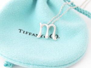Tiffany & Co Peretti Alphabet Letter M Pendant Necklace EXCELLENT Condition!