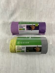 Gaiam Grippy Yoga Mat Towel Purple or Grey Fast Drying Moisture Wick NEW