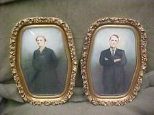 New ListingFantastic Pair Rare Antique Gold Gesso Oval Rectangle Convex Bubble Glass Frames