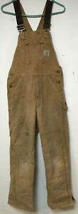 MEN USED DISTRESSED CARHARTT BROWN RED INSULATED CANVAS OVERALLS BIBS SIZE 30X32