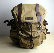 LL BEAN Khaki Waxed Cotton Canvas Leather Drawstring Backpack