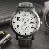 JIS Quartz Wrist Watch for Men Boy Black Rubber Band Big Dial Sport Army Watches