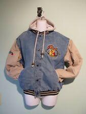 Disney Store Winnie The Pooh Denim Varsity Jacket W/Removable Hood, Adult Small