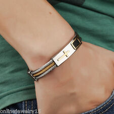 Fashion Stainless Steel Cross Finished Chain Bracelet Bangle Jewelry Gift