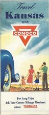 1953 CONOCO Gas Station Locator Road Map KANSAS Wichita Topeka Routes 40 50 66
