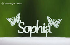 Personalised Name Birthday Cake Topper With Butterflies (White)