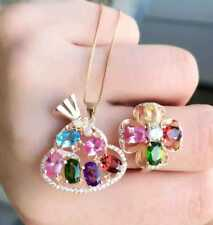 Gemstones Pendant and ring set, Topaz,Garnet, Diopside,Crystal, Corundum,Cute
