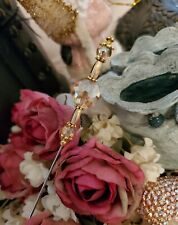 Vintage Inspired Victorian Hat Pin Champagne Peach Antique Gold Beads, Strong!