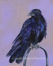 "RAVEN, ORIGINAL ACRYLIC ON LINEN BOARD PAINTING, 10"" x 8""  ART, BIRDS, PICTURE"