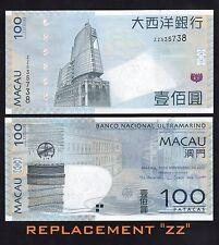 Macau 100 Patacas (2013) REPLACEMENT #Prefix ZZ, P82 BNU- UNC