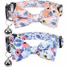 2 Pack/Set Cat Collar Breakaway with Cute Bow Tie and Bell for Kitty Pattern 2