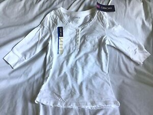 CHEROKEE Youth Girl's Lace Tee Shirt Size LARGE - 10 / 12 White 3/4 Sleeve ~NWT~