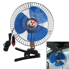 Portable 8'' 12V Cooling Fan Auto Clip-On Oscillating Car Vehicle Dash Dashboard