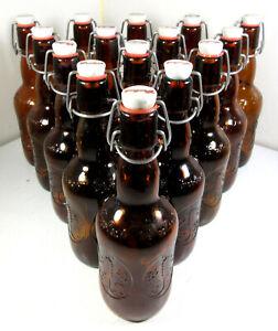 LOT 15 Vintage Grolsch Beer Bottles Amber Brown Glass Porcelain Flip Swing Top