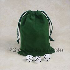 """NEW 5"""" x 7"""" Green Velveteen Cloth Dice Bag RPG D&D Game Tokens Counter Pouch"""