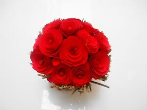 STUNNING RED ROSE WOOD CHIP WEDDING FAVOURS XMAS HOME TABLE DECORATION DISPLAY