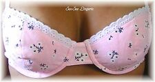 Powder Pink w/ White Daisies and Lace Bra & Thong Set 32B - Large