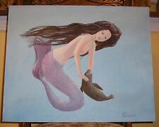 New ListingMermaid Woman Nautical Baby Seal Mammal Lavender Purple Color Ocean Sea Painting