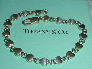 "AUTHENTIC RARE -TIFFANY & CO STERLING SILVER HEART LINK BRACELET- 7 1/4"" LONG!"