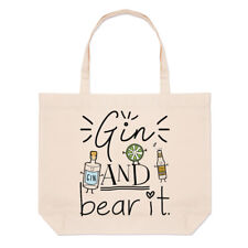 Gin And Bear It Large Beach Tote Bag - Funny Grin Joke