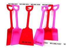 """12 """"WE DIG YOU"""" Stickers 6 ea Pink  Red Toy Shovels Mfg USA No BPA*"""