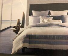 Hotel Collection 98% Linen 2% Cotton Stripe Indigo Blue King Duvet Cover $470.00