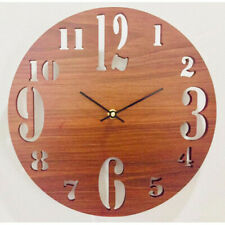 WALL CLOCK Wooden Round Analog Home Decor Room Decoration Silent Movement - 12''