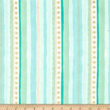 Metallic Stars & Stripes Aqua  Michael Miller Fabric FQ +More 100%Cotton