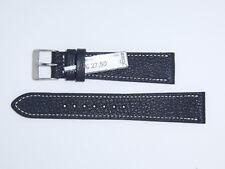 "FLUCO Genuine Vintage Leather Watch Band Strap 19 mm Black ""Montana-Ziege"""
