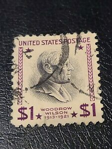 US SCOTT #832 USED 1938  $1  WOODROW  WILSON STAMP Old GREAT FIND - #3693