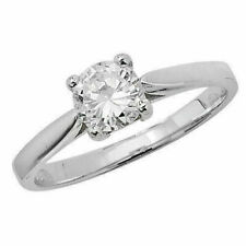 Solitaire Ring, Size K (7193) * Sterling Silver Cubic Zirconia 6.5mm Sparkling