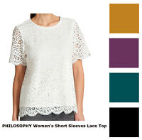 NEW! Philosophy Women's Short Sleeve Lace Top with Lining, Pick Size & Color