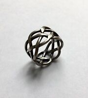 Antique Mexico Taxco 925 (RCF) Eagle 3 Sterling Ring Woven Braid Men's Size 11