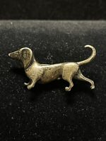 Jezlaine Signed 925 Brooch Pin Figural DACHSHUND WEINER DOG Vintage
