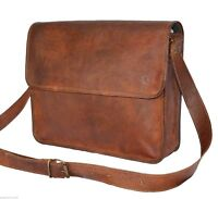 Genuine Leather Men's Messenger Bag Brown Office Briefcase Laptop Bag