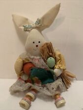6 Inch Bunny Buttons Thread Spool Doll Shelf Sitter Easter Rabbit