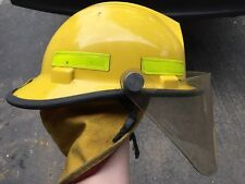 Traditional Fire Fighter Helmet With Visor And Neck Protection! Yellow! Bullard