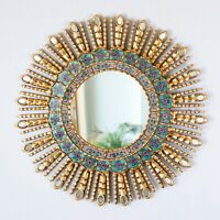 """Gold Decorative Sun Mirror 23.6"""" from Peru, AccentTurquoise Round Mirrors wall"""