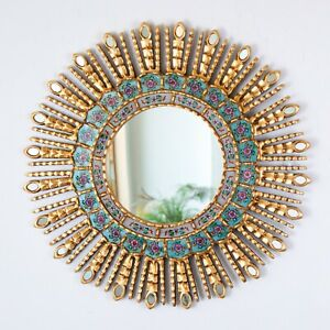 "Gold Decorative Sun Mirror 23.6"" from Peru, AccentTurquoise Round Mirrors wall"