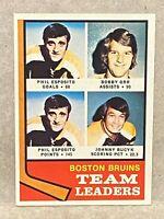 1974 Topps Hockey #28 Boston Bruins Team Leaders Bobby Orr Phil Esposito Bucyk