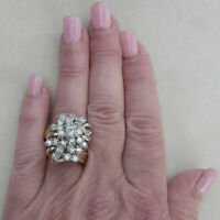 3.50 Ct Women's Diamond Cluster Ring Cocktail Ring 14k Yellow Gold Finish