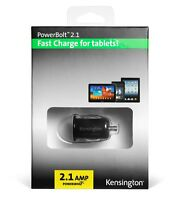 KENSINGTON 2.1A Quick FAST CAR CHARGER for TABLETS IPHONES SAMSUNG UNIVERSAL