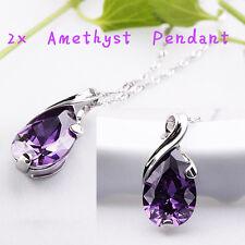 2xChain Necklace Waterdrop Pendant Rhinestone Crystal Wedding party Jewelry
