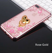 Luxury Crystal Diamond Silicone Clear Stand Case Cover for iPhone XS 6 7 8Plus