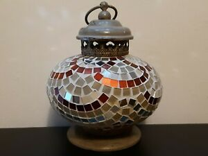 "Pier 1 MOSAIC GLASS TILE METAL LANTERN LAMP Tea Light Candle Holder 8"" x 6.5""dia"