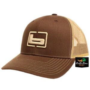 "NEW BANDED TRUCKER CAP MESH BACK HAT BROWN AND KHAKI W/ ""b"" LOGO"