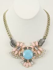 Pink Aqua Black Gold Faceted Stones Articulated Fashion Necklace (BJ05)