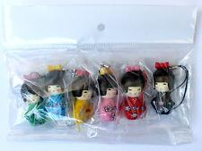 lot 6pc/set Japanese kokeshi doll mobile phone strap Charm / Mobile Phone Straps